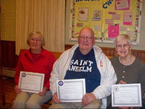Membership Certificate Recipients:  Shirley Hatch, Donald Proctor, and Cynthia Maxwell