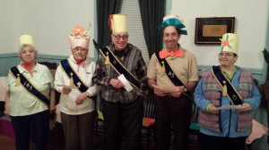 "Willow Grange 366 celebrated Easter at its April 10 meeting. Lecturer Paula Roberts' program ended with groups creating Easter bonnets (and hats) and a chorus of ""In Your Easter Bonnet"". Wearing the hats are Hazel Kleinschmidt, Elsa Seeger, Errol T. Clark, Errol A. Clark and Jackie Dubord."