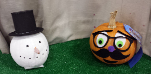 Decorated Pumpkins by Norma Meserve (left) and William Barone