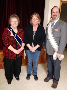 L--R Fairview Grange Master Kay Young, Community Citizen Nancy Clark, Maine State Grange Master Rick Grotton.