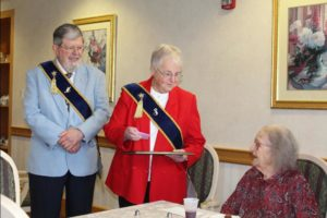Jim and Mary Annis prepare to honor Opal Bennett for 80 years of membership.